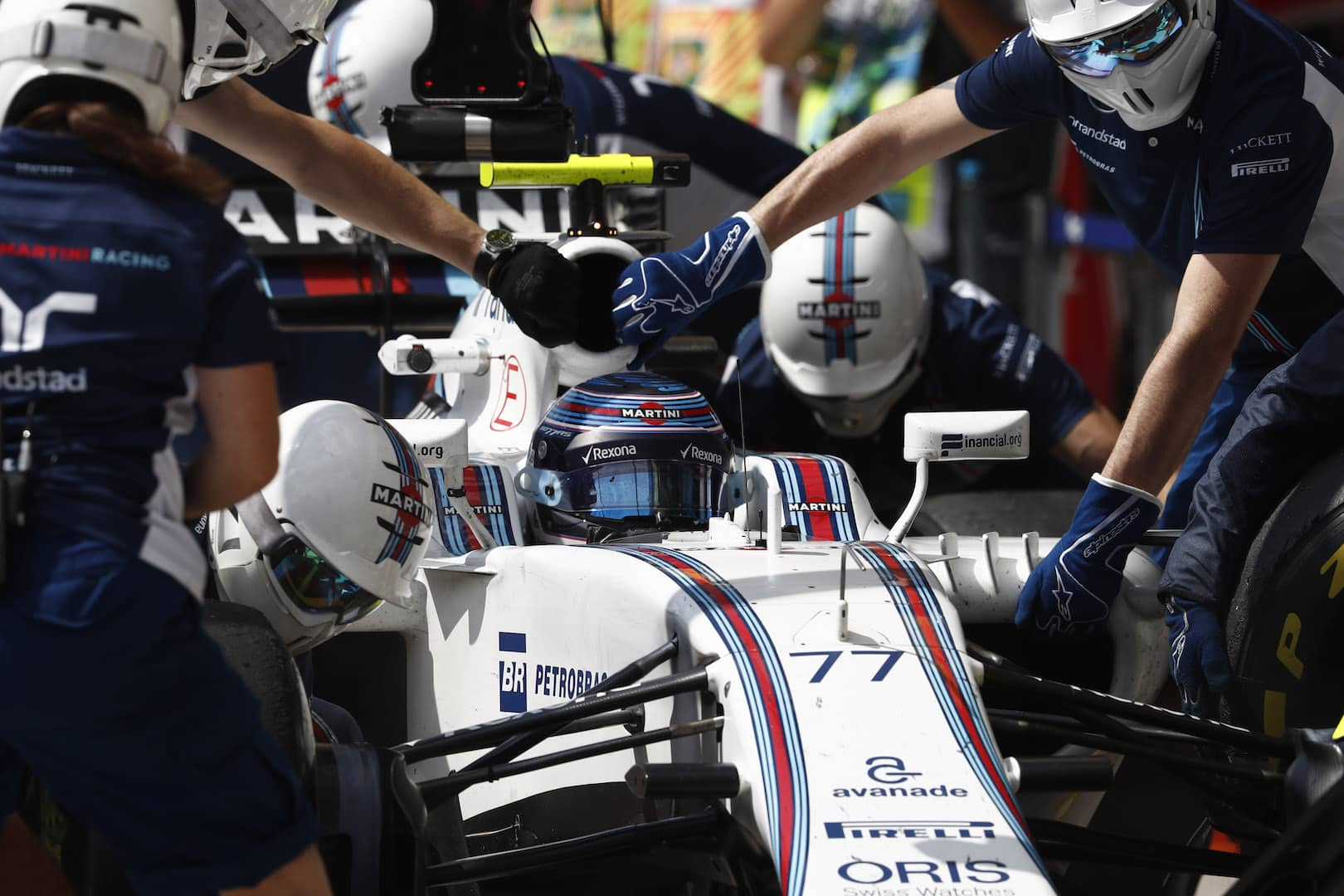 Interlagos, Sao Paulo, Brazil. Friday 11 November 2016. Valtteri Bottas, Williams FW38 Mercedes, in the pits. Photo: Glenn Dunbar/Williams ref: Digital Image _31I4875