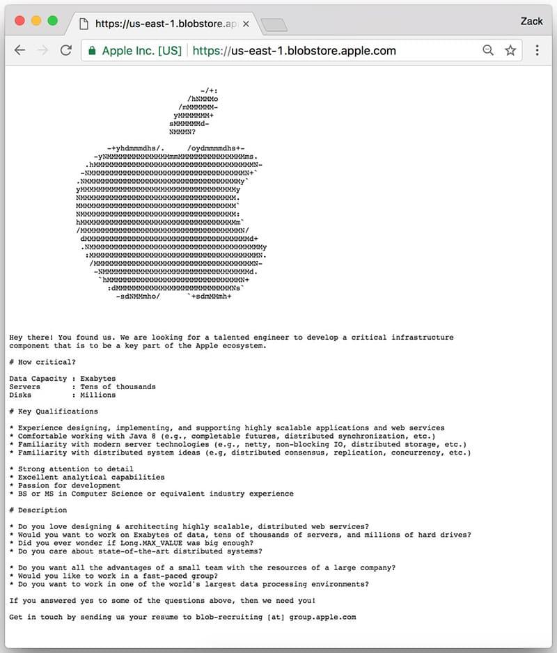 Apple esconde ofertas de trabajo