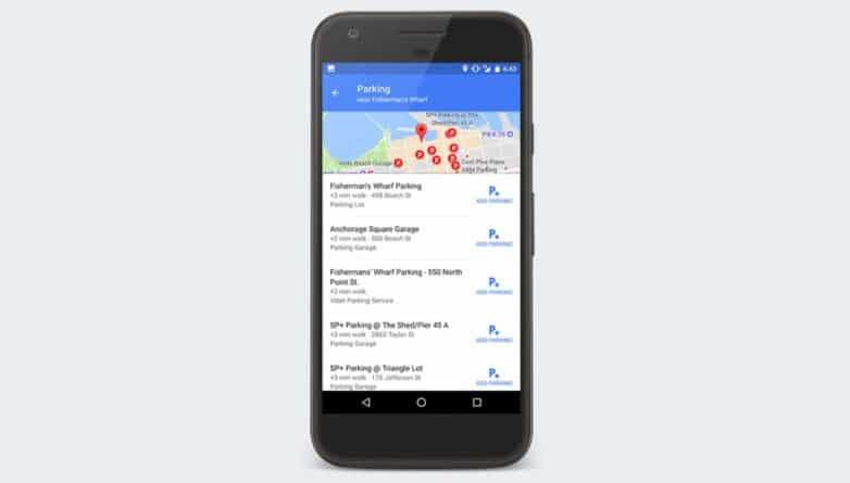 buscar aparcamiento con Google maps