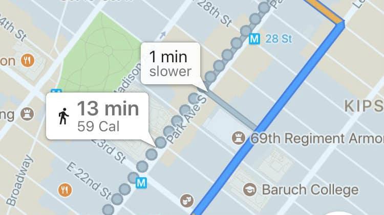 Google Maps contador de calorías